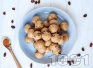 Рецепта Протеинови вегетариански топчета с овесени ядки, сусамов тахан, ванилов протеин и мед